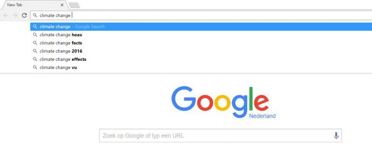 Als je climate change googlet, is Google's eerste suggestie 'Hoax'.