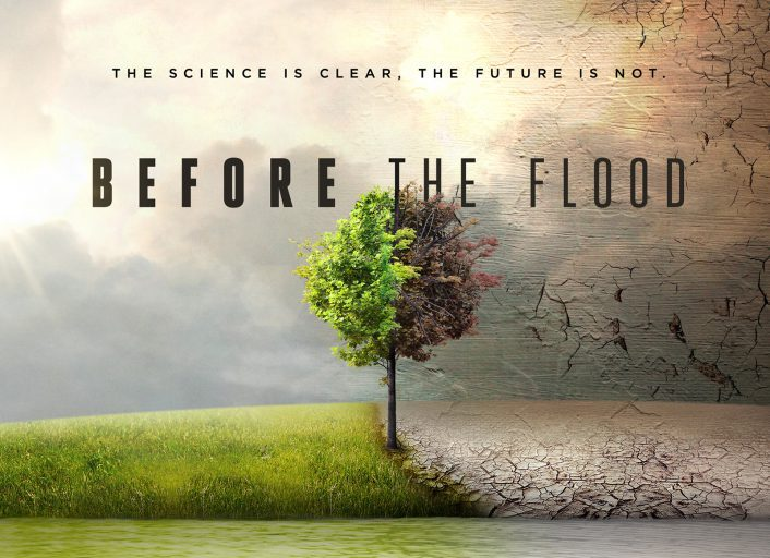 Poster van Before the Flood, film over klimaatverandering door Leonardo DiCaprio.